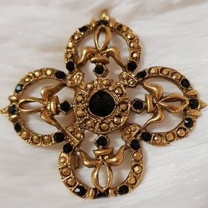 VINTAGE Gold & Black Detailed Avon Brooch Pin